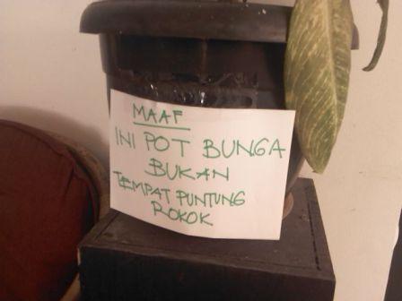 pot tanaman ber-tanda peringatan